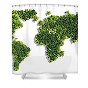 World Map Made Of Green Trees Shower Curtain