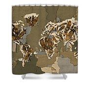 World Map Mandala Feathers 4 Shower Curtain