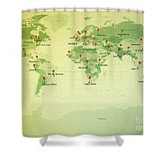 World Map Miller Cities Straight Pin Vintage Shower Curtain