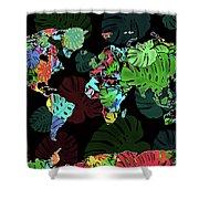 World Map Monstera Leaves  8 Shower Curtain