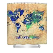 World Map Oceans And Continents Art Shower Curtain