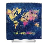 World Map Oceans And Continents Shower Curtain