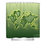 World Map Opala Square In Green And Yellow Shower Curtain