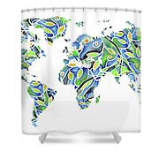 World Map Organic Green And Blue Shower Curtain