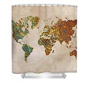 World Map Oriental Shower Curtain