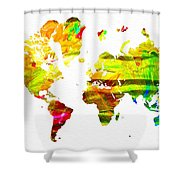 World Map Painted Shower Curtain