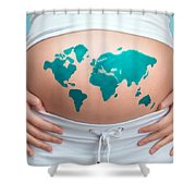 World Map Painted On Pregnant Woman's Belly Shower Curtain