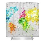 World Map Painting On Brick Wall Shower Curtain by Setsiri Silapasuwanchai