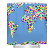 World Map Palette Shower Curtain