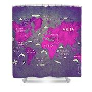 World Map Pink Shower Curtain