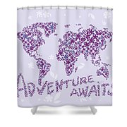 World Map Purple Lavender Floral Pattern Shower Curtain