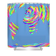 World Map Radial Eurocentric Shower Curtain
