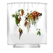 World Map Running Paint 01 Shower Curtain