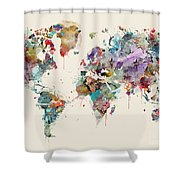 World Map Watercolors Shower Curtain