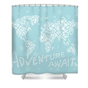 World Map White Flowers Aqua Blue Shower Curtain