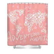 World Map White Flowers Pink Shower Curtain