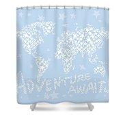World Map White Star Pastel Blue Shower Curtain