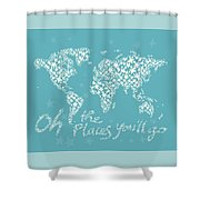 World Map White Star Turquoise Shower Curtain