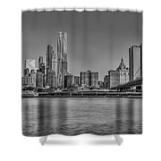 World Trade Center And The Brooklyn Bridge Bw Shower Curtain