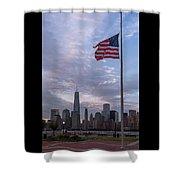 World Trade Center Freedom Tower New York City American Flag Shower Curtain