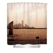 world Trade Center From Pier Shower Curtain