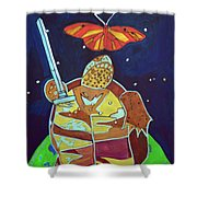 World Turtle King Of Swords Shower Curtain