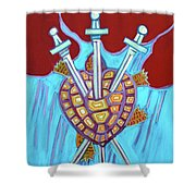 World Turtle Three Of Swords Shower Curtain