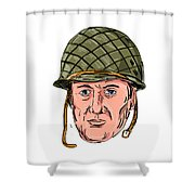 World War Two American Soldier Head Drawing Shower Curtain