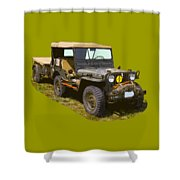 World War Two Army Jeep With Trailer  Shower Curtain
