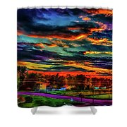World's Most Psychedelic Autumn Sunsset Shower Curtain