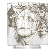 Worn Face Shower Curtain