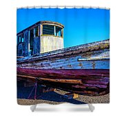 Worn Weathered Boat Shower Curtain