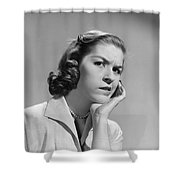 Worried Woman, C.1950-60s Shower Curtain