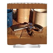 Would You Like A Little Pistol With Your Coffee Shower Curtain
