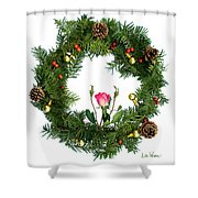 Wreath With Rose Shower Curtain