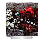 Wreaths From New Zealand And Our Navy Shower Curtain