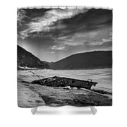 Wreck On The Lake Shower Curtain