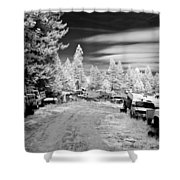 Wrecking Yard In Infrared 3 Shower Curtain