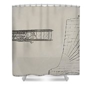 Wright Brothers Memorial Plane Sketch Shower Curtain