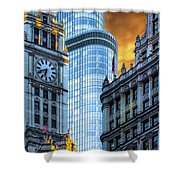 Wrigley Building And Trump Tower Dsc0540 Shower Curtain
