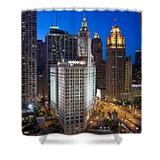 Wrigley Building Night Shower Curtain