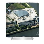 Wrigley Global Innovation Center In Chicago Aerial Photo Shower Curtain
