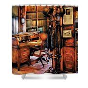 Writer - A Hard Day At Work Shower Curtain by Mike Savad