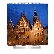 Wroclaw Old Town Hall At Night Shower Curtain