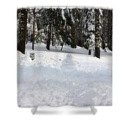 Wrong Way Snowman Shower Curtain