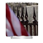 Wrought Iron And American Flag Shower Curtain