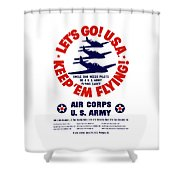 Us Army Air Corps - Ww2 Shower Curtain