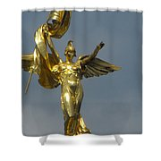 Wwi Gold Winged Victory Statue Shower Curtain