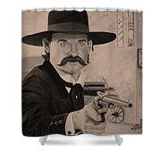 Wyatt Earp - Kurt Russell B And W Shower Curtain