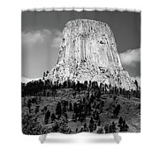 Wyoming Devils Tower National Monument With Climbers Bw Shower Curtain
